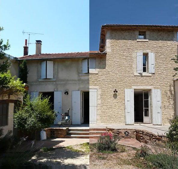 Avant et après rénovation d'une maison en pierres
