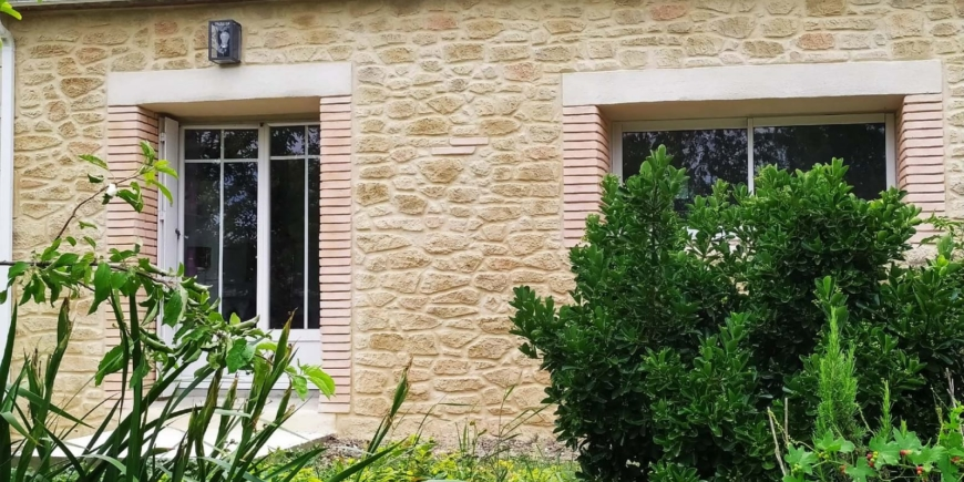 "Façade ""Type"" Lauragaise, imitation pierres et briquettes Castelnaudary"