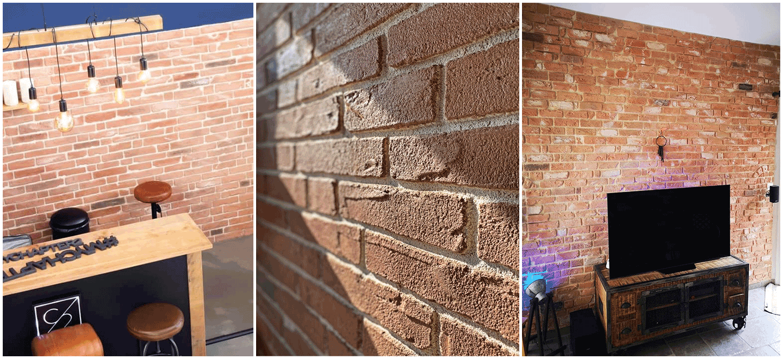 Exemples de montage en briquettes rouges pour murs intérieurs