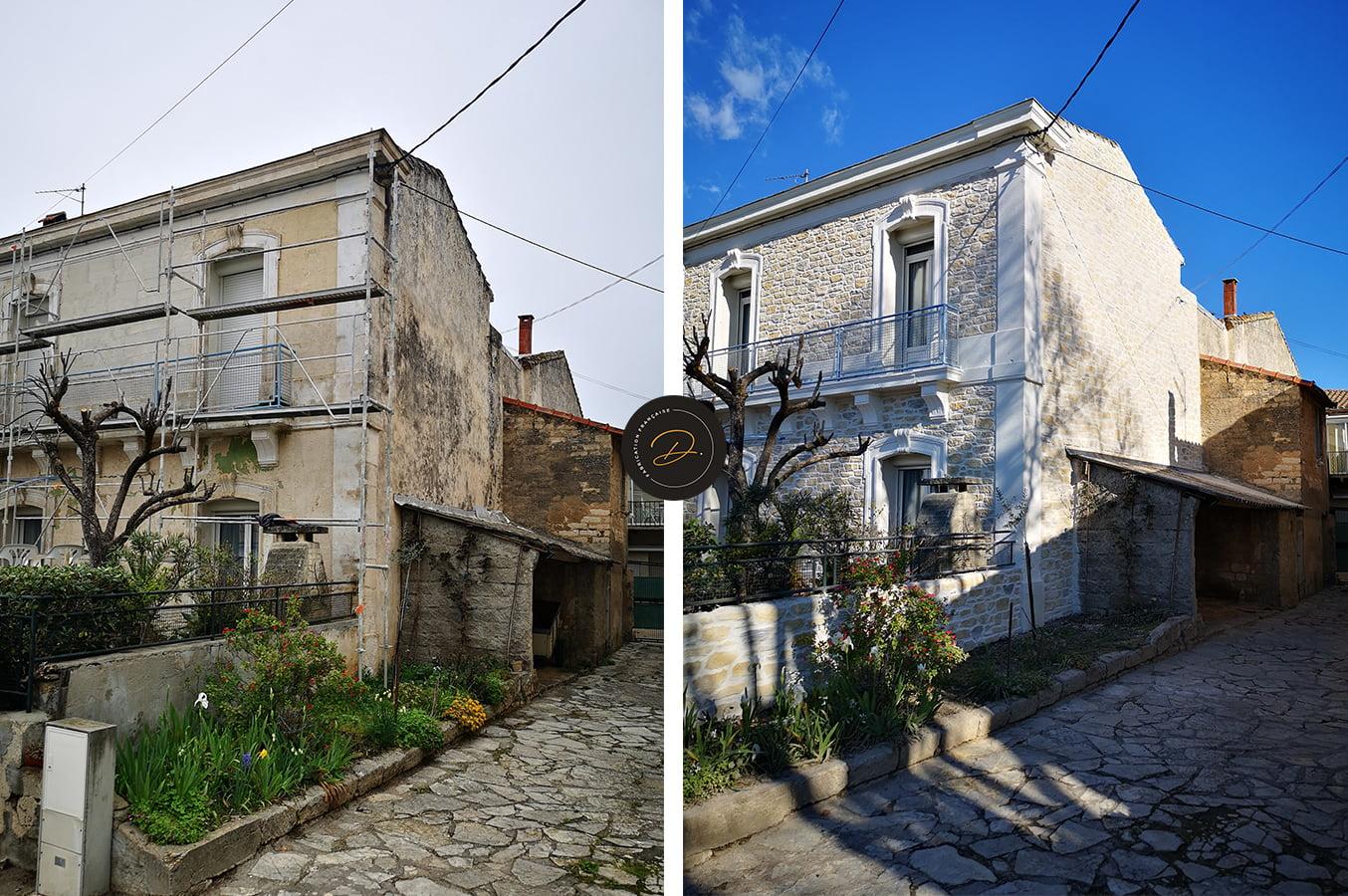 Rénovation d'une façade en aspect pierre proche de Montpellier (34)